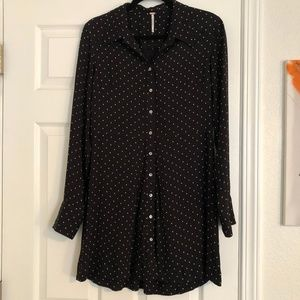 Free People This Town Polka Dot Button Down Dress